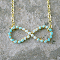 Ombre Turquoise Infinity Necklace Wire Wrapped Gold Brass and Chain MADE TO ORDER