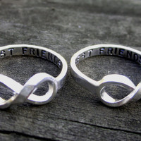 Hand Stamped Best Friends Infinity Ring Set by donnaodesigns