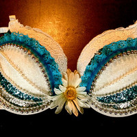 white DAISY flower edc RAVE BRA blue glitter silver by moonbeamzzz