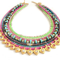 Neon statement necklace  - multiple strands beaded necklace - neon jewelry - heart necklace - beaded choker - bohemian hippie style