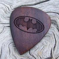 African Leadwood Guitar Pick - Handmade Laser Engraved Premium Wood Pick - Batman Tribute