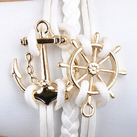 White Nautical Anchor Bracelet from Monica&#x27;s Closet Essentials