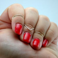 Set of 3 wire wrapped stackable knuckle rings: one chevron, two round