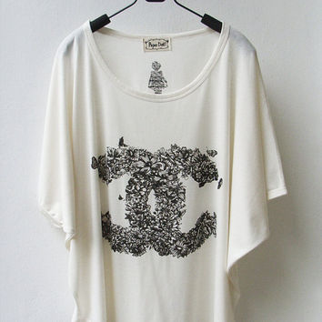 Chanel Floral Logo  Tank Top TShirt Batwing in by InfinitStyle