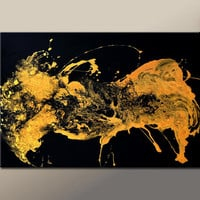 Abstract Canvas Art Painting 36x24 Original Gold Metallic Contemporary Paintings by Destiny Womack - dWo - Enlightened