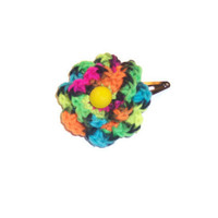 NEON Flower Hair Clip - Double Flower , Black Neon Rainbow Colored