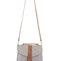 Striped & Leatherette Handbag | FOREVER21 - 1000008085