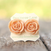 Large Peach Rose Flower Stud Earrings Perfect For Bridesmaid Or Maid Of Honor Gifts | Luulla