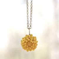 Mustard Yellow Chrysanthemum Flower Necklace Vintage Style Perfect For Bridesmaid Gifts
