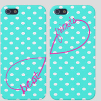Best Friends iPhone Case  Infinity  Polka by PersonalizedPenquin