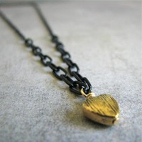 Tiny Textured Heart Mix Chain Necklace on Luulla