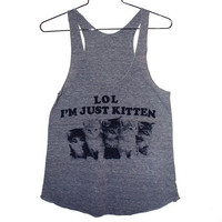 Just Kitten Tank Top Select Size by burgerandfriends on Etsy
