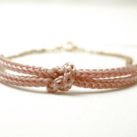 Pink knot bracelet rope bracelet nautical dainty by illusy
