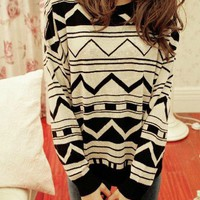 Aztec White & Black Sweater