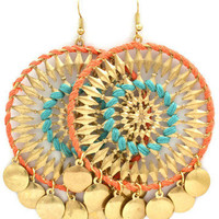 Arzoo Earrings Peach Turquoise - Polyvore
