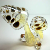 Glass Pipe, 2 Section Mushroom Sherlock Pipe, Color Changing, One of a Kind, Ready for Shipping, Cgge Team