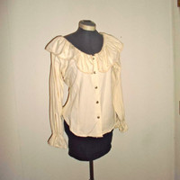80s Cream Ruffle top long sleeve Shirt, of white pirate shirt (free shipping)