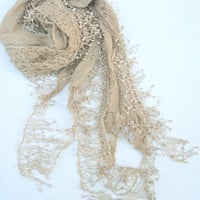 Beige Lace Scarf Spring Summer Fashion Scarf FREE Shipping Cute Scarf - By PiYOYO