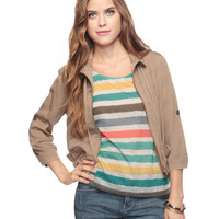 Cropped Jacket w/ Drawstring Collar | FOREVER21 - 2008585958