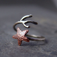 Copper Starfish Coral Branch Adjustable Ring, Star ring, Starfish Ring, MADE to ORDER, Ocean Jewelry, Gifts under 40.00, Handmade
