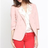 Double Breasted Blazer- Rose Color Blazers- Blazers- &amp;#36;41.99