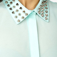 Sheer Spiked Collar Shirt | FOREVER 21 - 2019570971