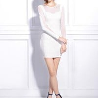 Starry lace chiffon spliced ​​Slim long-sleeved dress wh