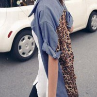 LADIES DENIM STYLE LEOPARD SHIRT.