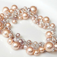 Peach Pearl Bracelet Bridesmaids Bracelet by somethingjeweled