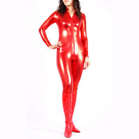Red Shiny Metallic Catsuit Masquerade Fancy Dress - $28.99