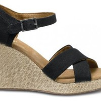 Amazon.com: Toms - Womens Black Canvas Strappy Wedges Shoes: Shoes
