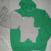 Elephant trunk sleeve HOODIE Emerald Green by CreativeCallipipper