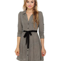 Cute Black Dress - Polka Dot Dress - Shirt Dress - &amp;#36;56.00