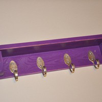 Spoons Hooks Coat Rack with Shelf in Distressed Purple