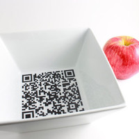 Black and White Square Bowl with QR Code by LLTownleyCeramic