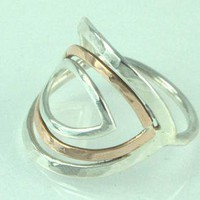 Leaf Ring Silver and Bronze by ExCognito on Zibbet