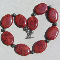 "Red Sponge Coral & Pyrite Gemstone Statement Necklace - ""Sienna Sunset"""
