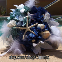 Nautical Starfish Beach Seashell Wedding Bouquet - Made to Order- Beach Starfish Shades of Blue Hydrangea Wedding Bouquet