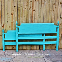 Bayside Blue/ Double Bed/ Vintage Headboard/ Foot Board/ Shabby Chic/ Girls Room /Boys Room