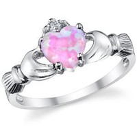 Stelring Silver 925 Irish Claddagh Friendship & Love Ring with a Pink Opal Heart Sizes 4 to 10