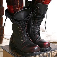10 Hole Punk Rock Biker Engineer Vegan Faux Leather Boots Maroon Mahogany