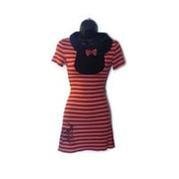 Red Pink Striped Pin Up Rockabilly Retro Inspired Dress Peter Pan Collar Cheetah Print Bow Skull Print Womens Clothing Size Small