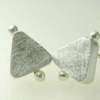 Triangle Errings Post Studs Sterling Silver by ExCognito on Zibbet