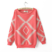 Geometric Diamond Pattern Sweater [17]
