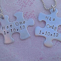 Personalized Hand Stamped Puzzle Piece Necklace Set - Stainless Steel - her one and his only