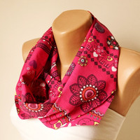 Infinity Scarf - Loop Scarf - Circle Scarf - Tribal Scarf - Historical Shape design- Pink, black