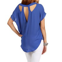 Royal Blue Short Sleeve Boxy Top