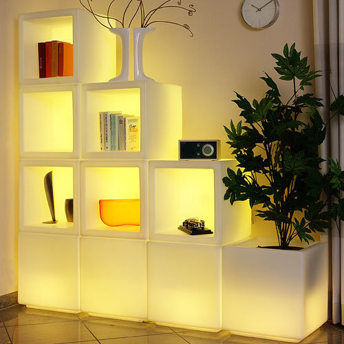 Color changing bookshelves