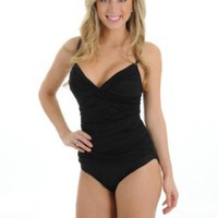 Amazon.com: Womens Sexy Black One Piece Bathing Suit La Blanca Swim Wear Ruched vNeck: Clothing