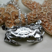 Crab Pendant with Necklace in Silver